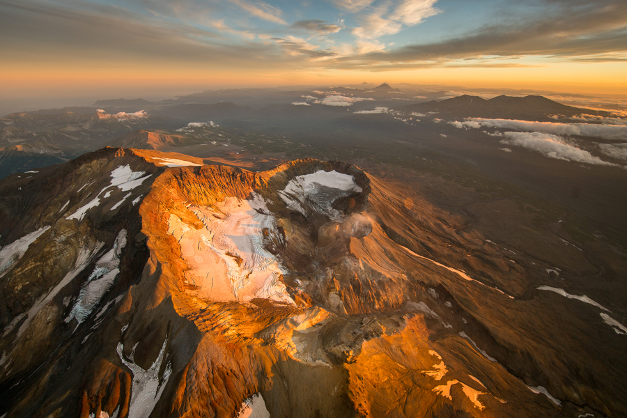 volcano view, sunset volcano, kamchatka, вулкан, сопка, природа камчатки